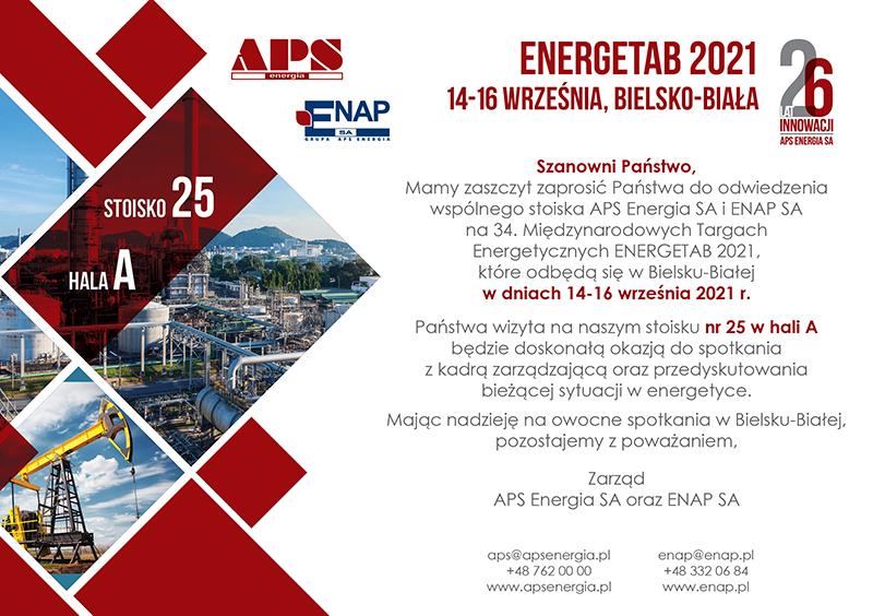 Zaproszenie Energetab 2021_APS Energia_ENAP